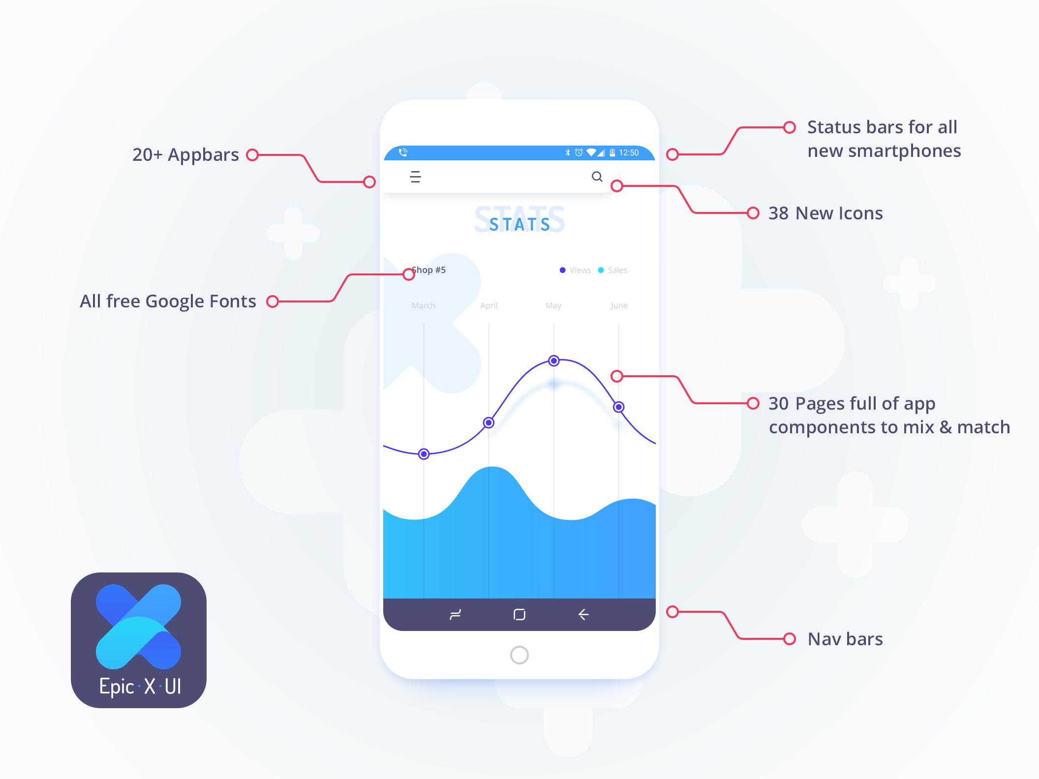 Free Flat Mobile App UI KIT PSD Download