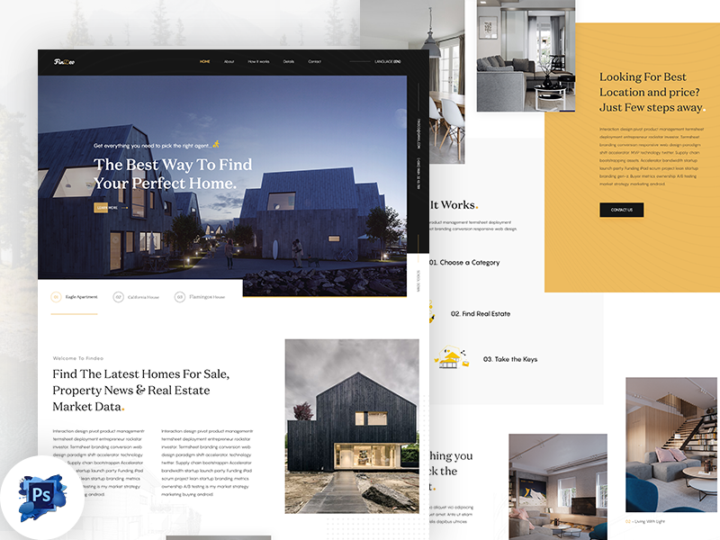 Real Estate Landing Page Free PSD