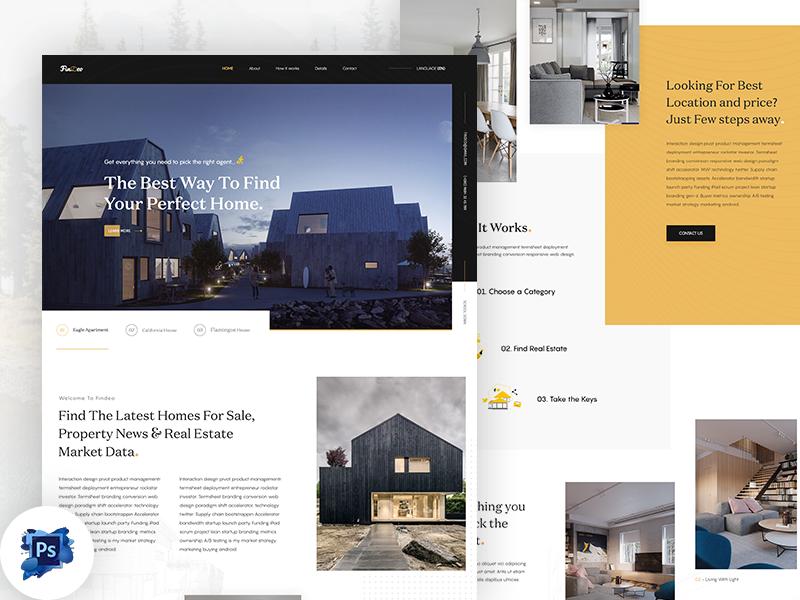 Real Estate Landing Page Free PSD
