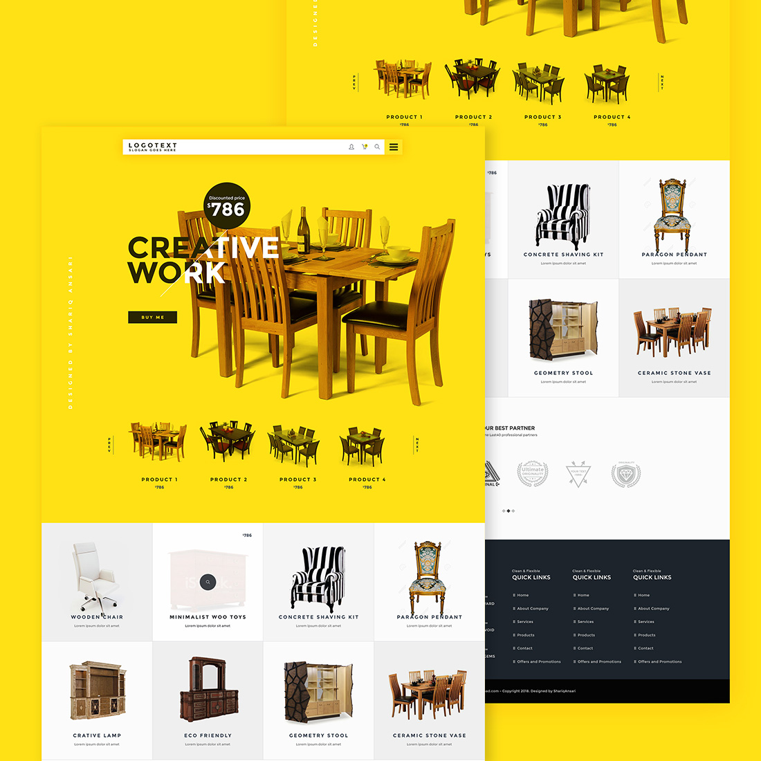 free furniture website template psd creative sofa
