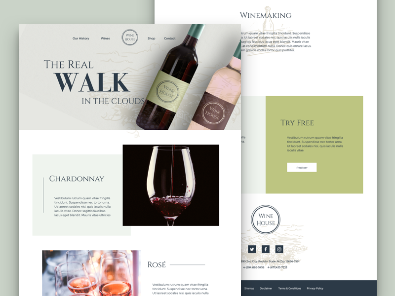 Free Wine Website Free PSD   Creative Sofa