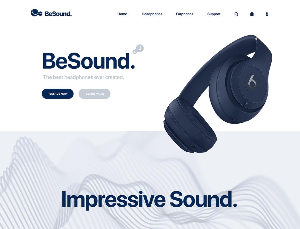 Headphones landing page template