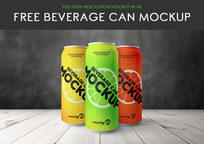 free psd beverage can mockup