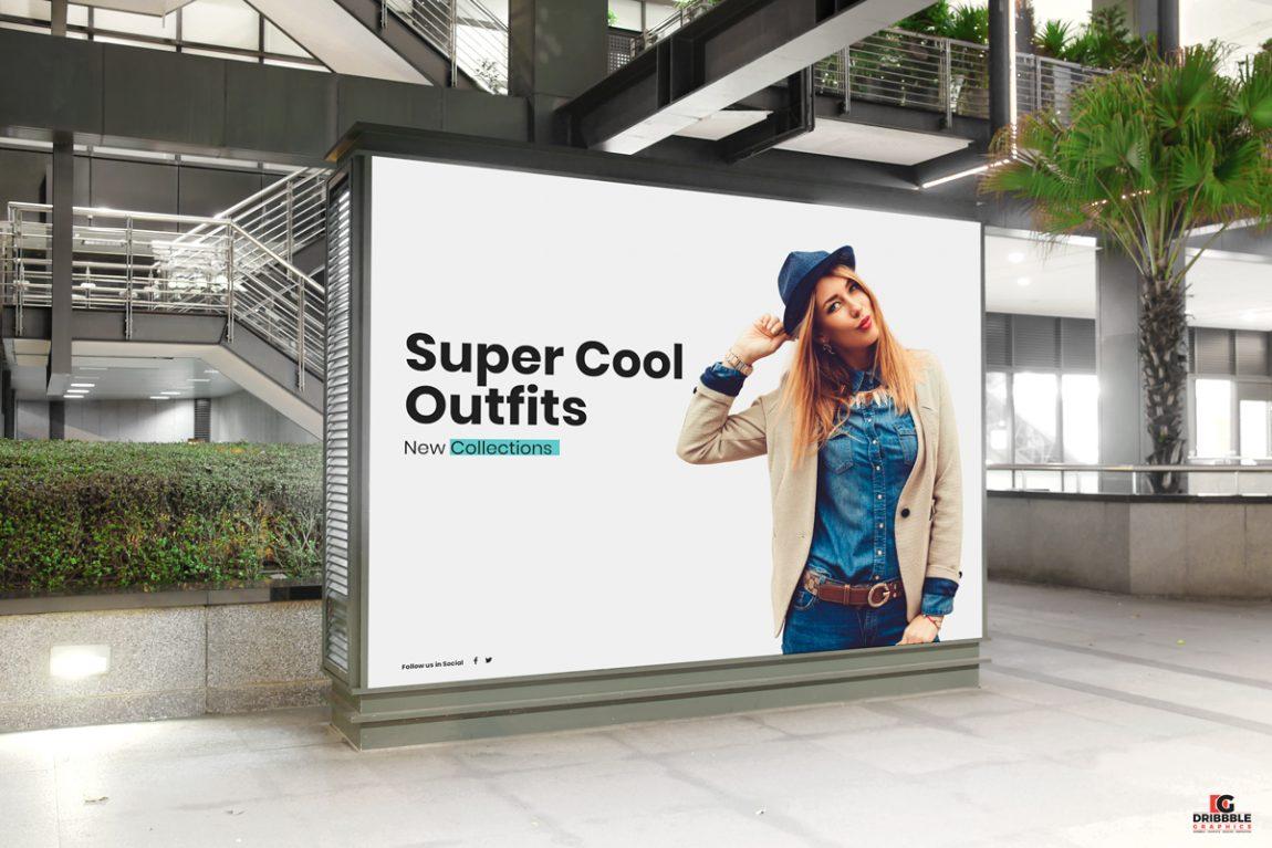 Free Mall Indoor Billboard Digital Ad Mockup PSD