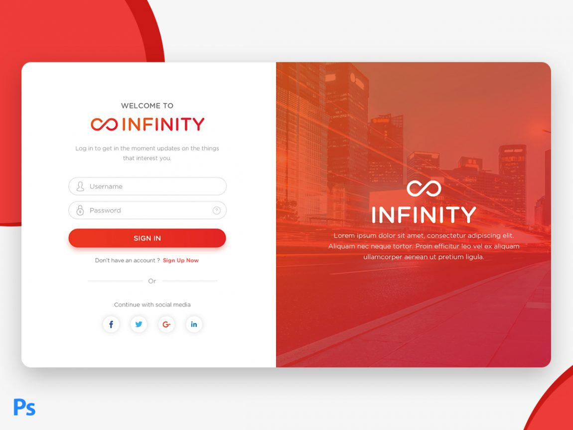 Free Material Design Login Page UI | Creative Sofa