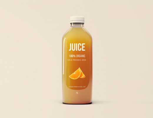 Big Glass Juice Bottle Mockup
