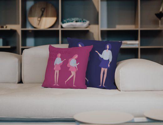 Pillows On The Sofa Mockup