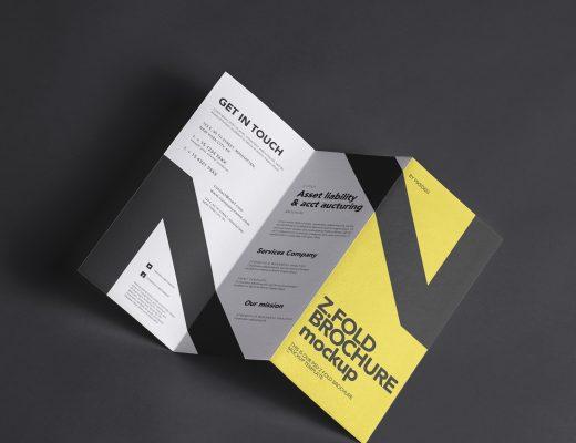 free three fold brochure mockup