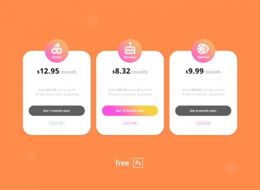 free pricing plan design PSD