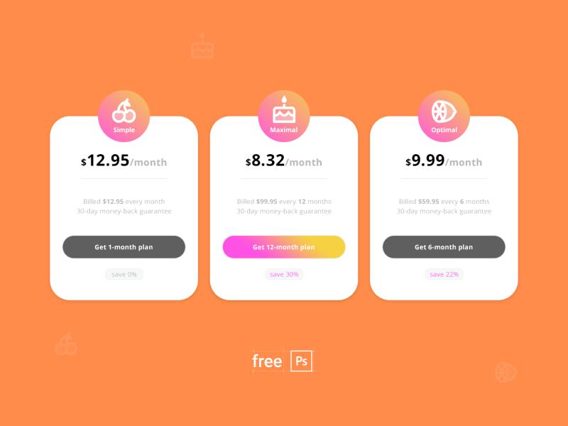free pricing plan design PSD