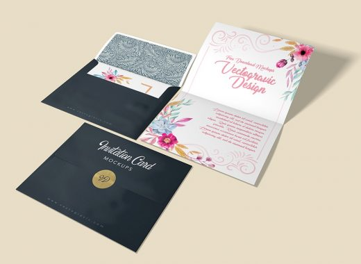 free wedding invitation envelope mockup psd