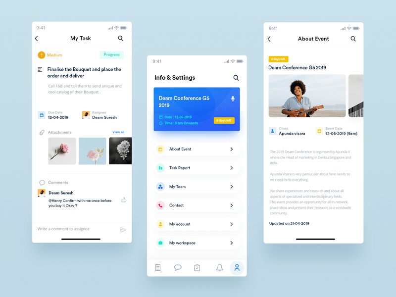 Event App UI Design Free PSD | Creative Sofa