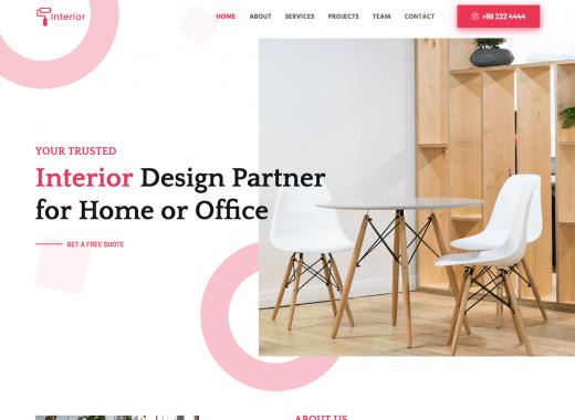 Free Interior Design Website Template