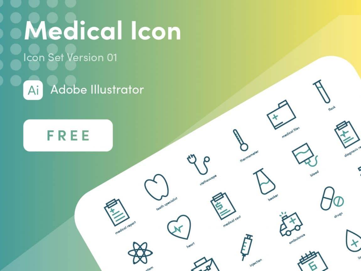medical icon free set