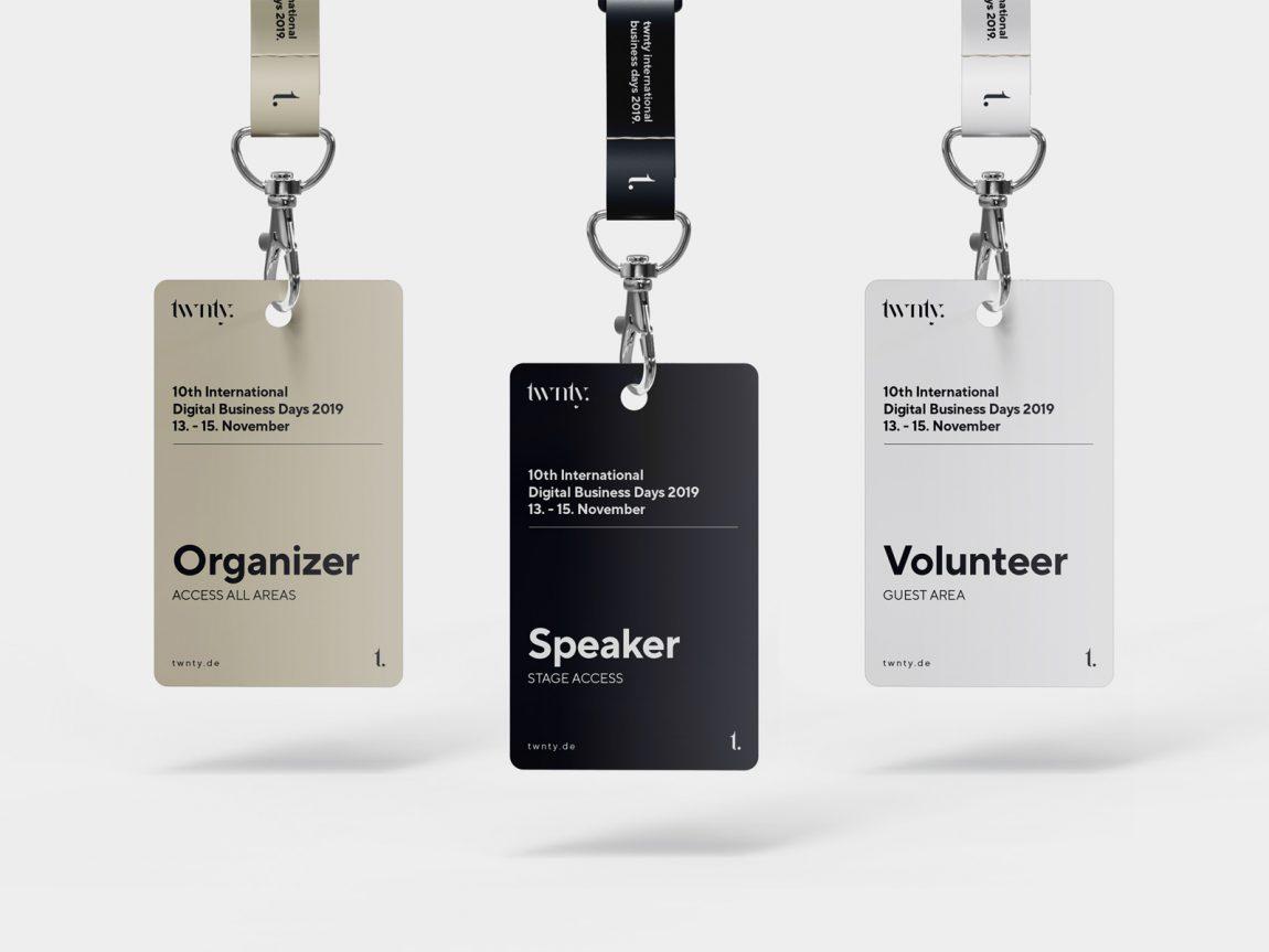 free hanging id badge mockup